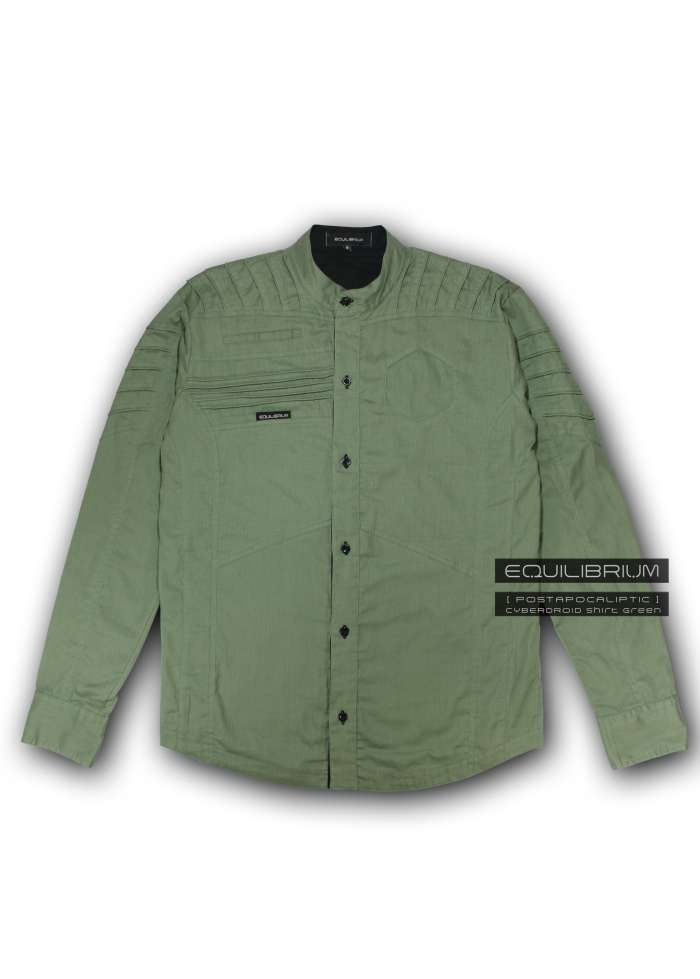 """cyberdroid green"" men's futuristic shirt"