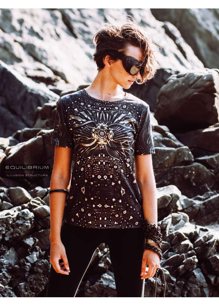 """""""sacred illusion"""" women's t-shirt with all over print / sacred geometry"""